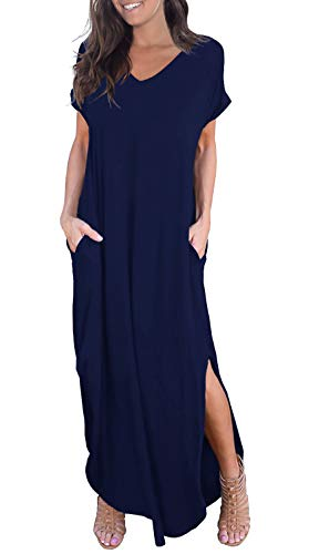 GRECERELLE Women's Casual Loose Pocket Long Dress Short Sleeve Split Maxi Dress Navy Blue XS