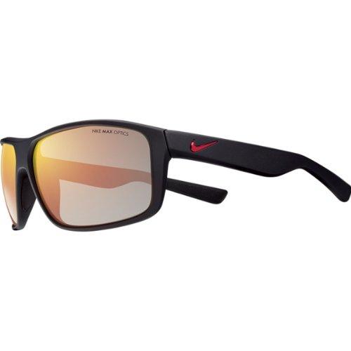 (Nike Grey with Mild Flash Lens Premier 8.0 R Sunglasses, Matte Black/Gym Red)