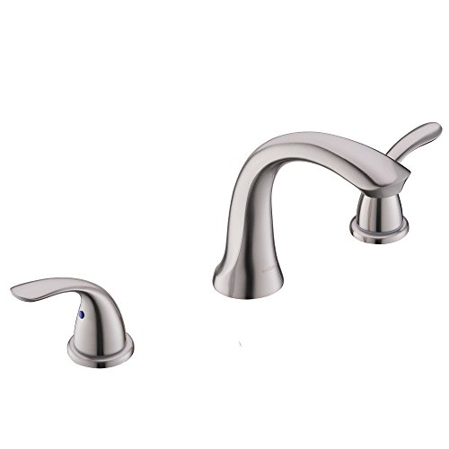 Comllen Best Modern Widespread Solid Brass 8 Inch Lavatory Brushed Nickel Bathroom Faucet, Bathroom Sink Faucet Without Pop Up Drain
