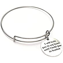 "Sympathy Gift Remembrance Bangle Stainless Steel wire bracelet adjustable size ""I will hold you in my heart until I hold you in heaven"""