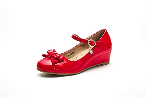 Mila Girls Toddler & Little Girls Mary Jane Low Heel Wedges Pumps Party Dress Shoes (Jodie-2) RED T6 ()