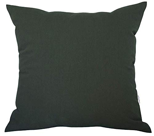 """TangDepot Decorative Handmade Solid Cotton Throw Pillow Covers, Super Soft Pillow Shams, Indoor/Outdoor Square Cushion Cover - (20""""x20"""", Charcoal)"""