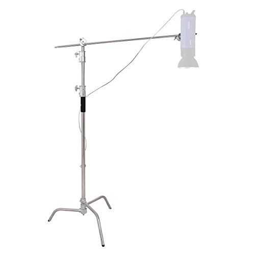 Safstar Pro Heavy Duty C-Stand, Adjustable Leg, 100% Stainless Steel w/Grip Head for Photography Studio Video Reflector, Monolights, Softboxes, Umbrellas