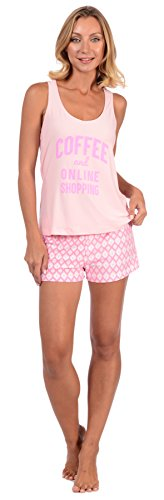 Body Candy Women's Lightweight Silky Soft Tank Top and Short Set (Pink X-Large) (Pajama Pants Fun)