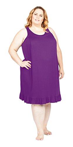 Savi Mom Plus Size Nursing/Breastfeeding Maternity Nightgown Sleepwear Dress (3X, Purple)