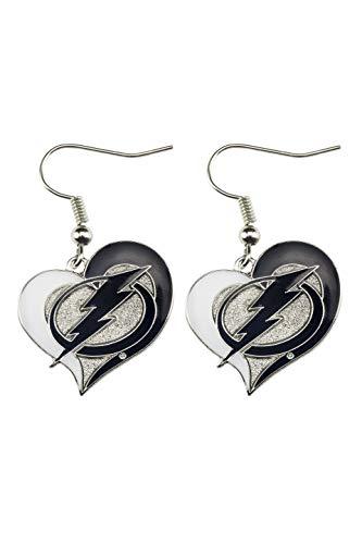 NHL Tampa Bay Lightning Swirl Heart Earrings