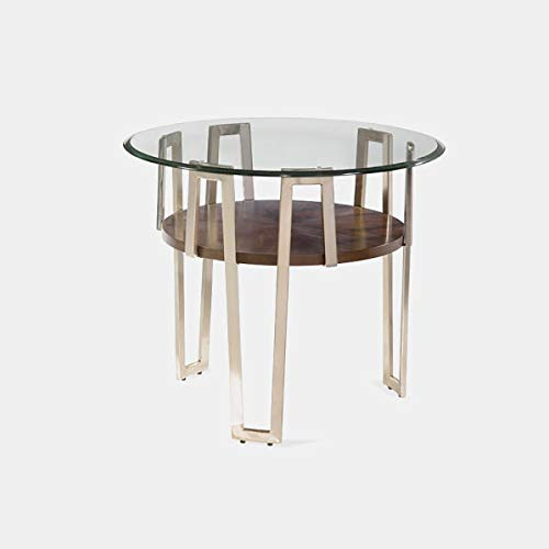 Metal and Wood Base End Table - End Table with Glass Top and Shelf - Medium Walnut