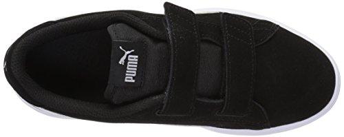 PUMA Baby Smash v2 SD Velcro Kids Sneaker, Black White, 8 M US Toddler