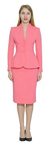 - Marycrafts Women's Formal Office Business Work Jacket Skirt Suit Set 14 Coral Pink
