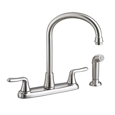 American Standard Colony Soft Double-Handle Kitchen Faucet with Brass Gooseneck Spout