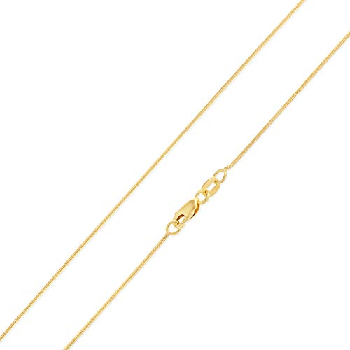 Ioka - 14K Yellow Solid Gold 0.7mm Round Snake Chain Necklace with Lobster Clasp - 22
