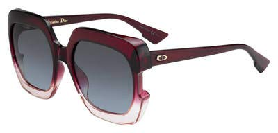 (Christian Dior Gaia 0T5I7 Sunglasses Crystal Burgundy Pink Frame Blue Lens 58mm)