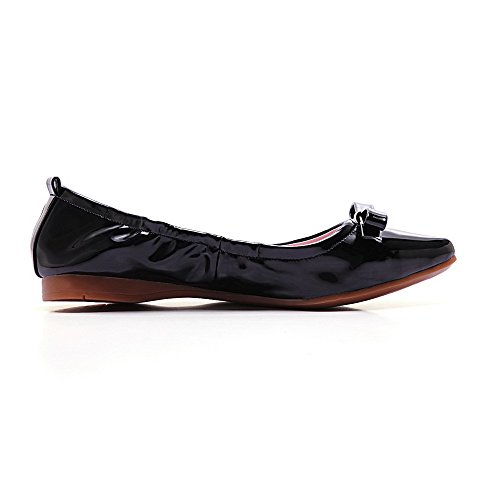 WeiPoot Womens Patent Leather No Heel Pointed Closed Toe Solid Pull On Flats-Shoes Black YhlL3oGqei