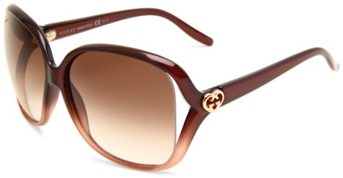 Gucci Womens 3500S Rectangle SunglassesShaded Brown FrameBrown Gradient LensOne Size