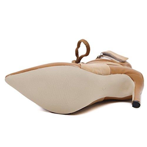 L@YC Damen Schuhe PU Winter Komfortable Stiefel Spitz Freizeit Brown Schwarz Fein mit der Plattform Brown