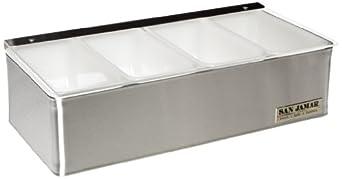 "San Jamar B4124L Stainless Steel Non-Chilled Garnish Tray with Plex Lid, 12-1/8"" Width x 3-1/2"" Height x 5-3/4"" Depth"