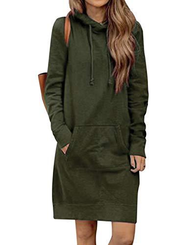 KIDSFORM Women's Long Hoodies Sweatshirt Pullovers Ladies Long Sleeve Plain Hooded Jumper Dresses Loose Tie Dyed Hoodies…