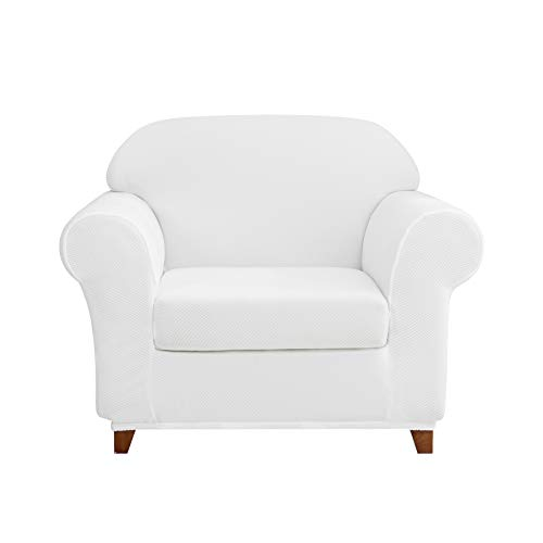 2-Piece Knit Spandex Stretch Dining Room Sofa Slipcovers (Chair, White)