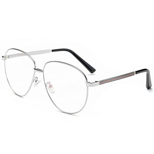 Amomoma Oversize Clear Lens Classic Aviator Eyeglasses Optical Eyewear Frame AM5014 with Silver Frame