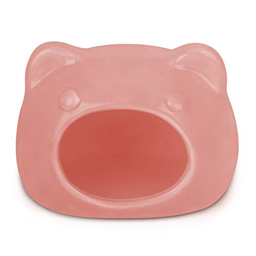 Small Pet Hideout Ceramic House Cute Adorable Cave Critter Hut Nest for Mini Animals Gerbils Chinchillas Hamster Mice Rat (Pink, L) (Pink, L)