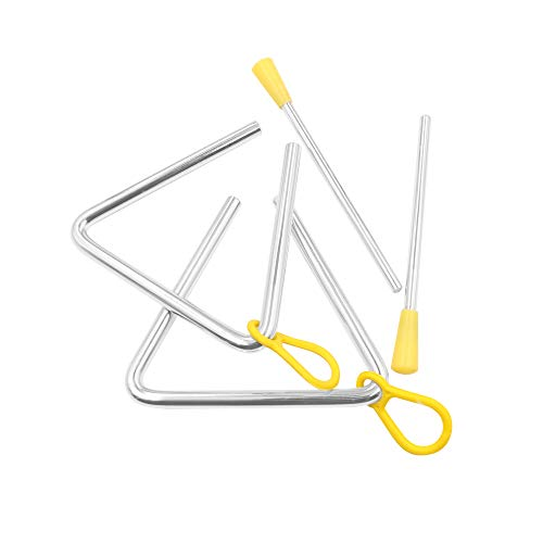 Elitee Hand Percussion 6 Inch Triangle Instrument with Striker, Pack of 2