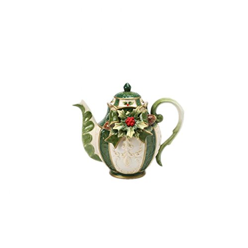 (Green and White Gold Trimmed with Holly Fancy Teapot Collectible)