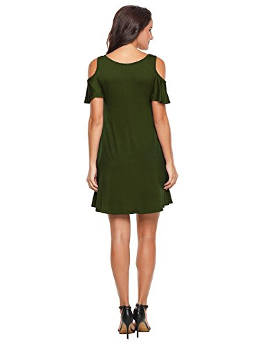 Solid Womens army Dye Shirt Ombre Green Dress Cold Casual Plain EasyMy T Tunic Shoulder Tie gtdSRRx