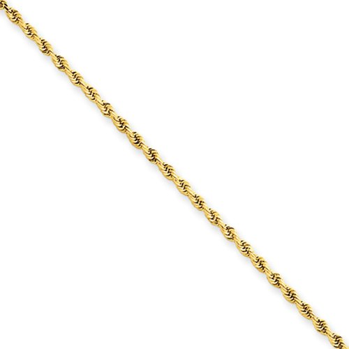 1.5mm Diamond Cut Rope Chain Anklet in 14 Karat Yellow Gold, 9 Inch