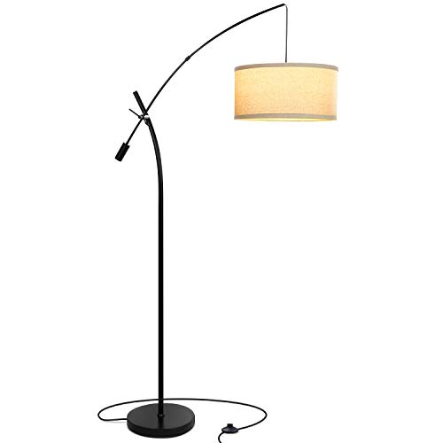 Brightech Grayson LED Arc Floor Lamp- Tall Pole Standing Light Arches Over Living Room Sofa or Over Bed – Adjustable Arm with Hanging Pendant Shade - Black
