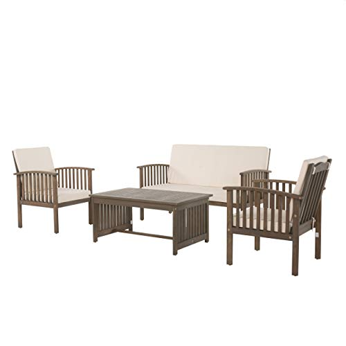 Christopher Knight Home 298932 Beckley Patio Furniture 4 Piece Acacia Wood Outdoor Chat Set, Grey (Furniture Acacia Wood Durability)