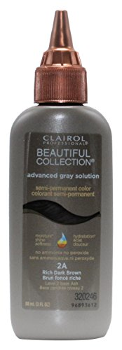 Clairol Beautiful Collection Advanced Gray Solution Hair Color, 3 fl oz -2A Rich Dark Brown