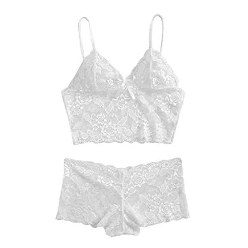 CUCAMM Lingerie for Women, Good Times and Tanlines Seas The Day American Labor Day Tennis Bra+Garter+Briefs Set Babydoll Sleepwear Sexy Exquisite Lace Lingerie White