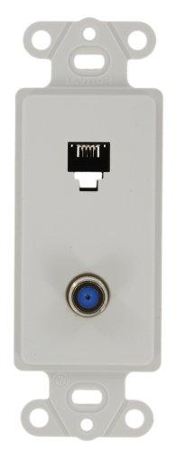 ra Insert, 6P4C + F-Connector, Screw Terminals, White (Quickport Decora Insert)