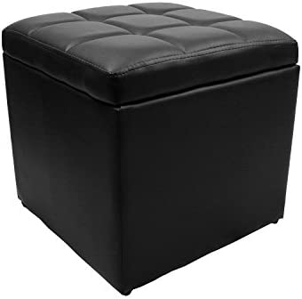 Magshion Unfold Leather Storage Ottoman Bench Footstool Cocktail Seat Coffee End Table, Square, Black