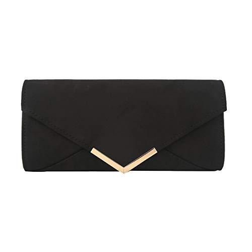 Classique pour Haute Femmes Argent Noir Enveloppe Diva Pochette Large PtAZwAqd