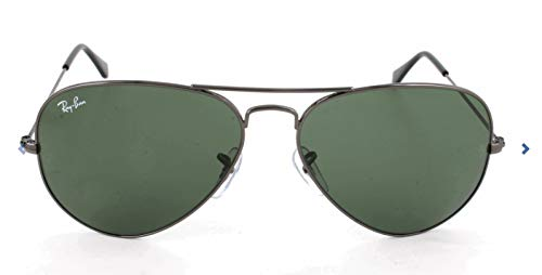 Ray-Ban RB3025 Aviator Sunglasses, Gunmetal/Green, 58 -