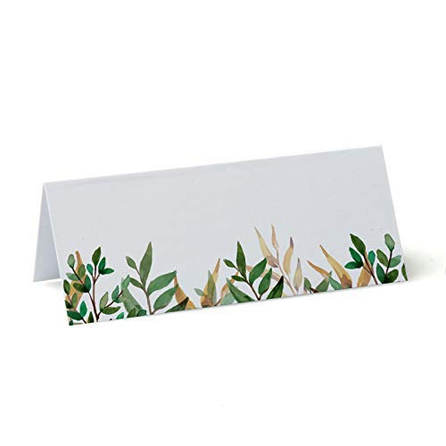 Conference Green Leaf Table Place Name Cards 90mm x 37mm 10 Plain for Wedding Parties