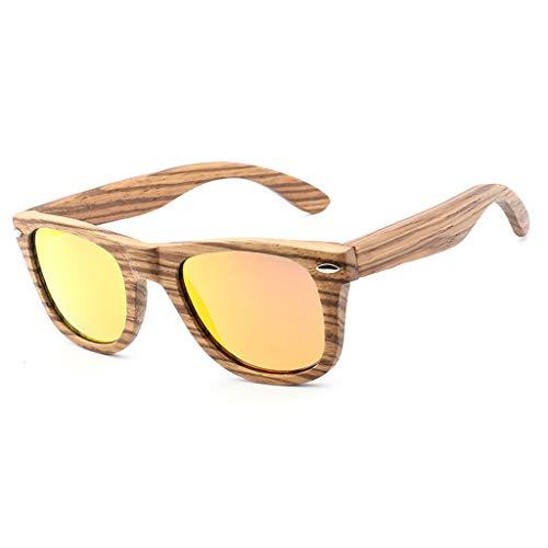 de la Azul bambú al Madera Manera de Gafas de de la Orange de de del vidrios clásica polarizadas del Unisex Color Aire Libre Cebra sol Madera Gafas bambú Remache Deporte qwA4fXO