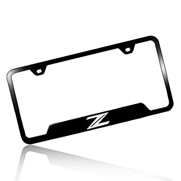 nissan 370z z logo black steel license plate frame