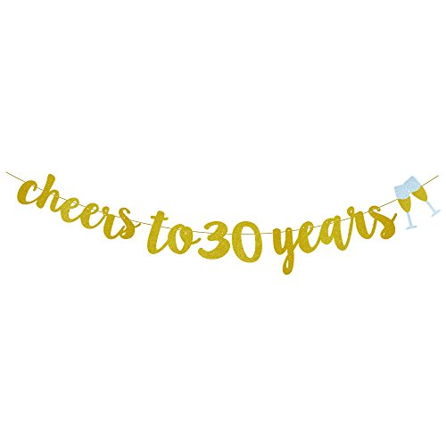 GOER Cheers to 30 Years and Champagne Glasses Gold Glitter Banner for 30th Birthday Party -