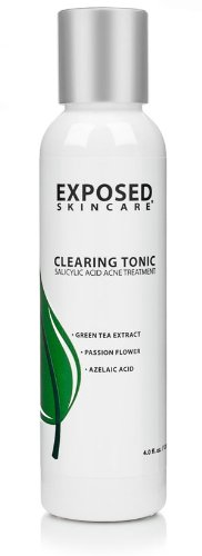 Salicylic Acid 1% Clearing Tonic Acne Treatment Toner with Green Tea Extract 4 ounces by Exposed Skin Care