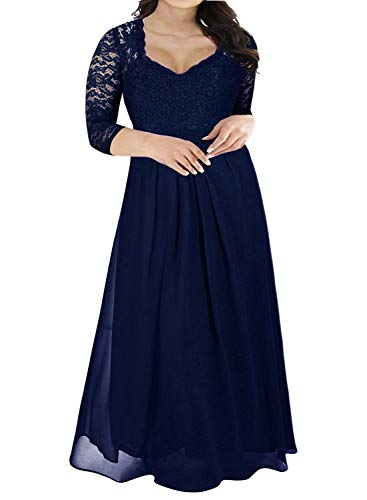 Nemidor Women's Deep- V Neck 3/4 Sleeve Vintage Plus Size Bridesmaid Formal Maxi Dress (22W, Navy+Sleeve)
