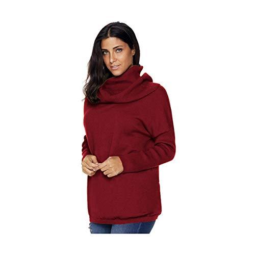 Moda Pullover Maglia Donne Autunno s Sikesong S Turtleneck Lavorata Rosso Felpa Casual A Ponticello Ragazze AzxqR0