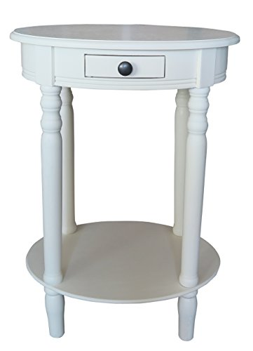 (Urbanest Woodbury Oval Accent Table with Drawer, Cream)