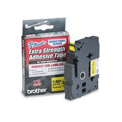 Brother 3/8 Inch x 26.2 Feet Black on Yellow Laminated Tape with Super Strong Adhesive (TZS621)