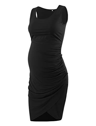 Ecavus Women's Maternity Mama Sleeveless Tulip Dress Wrap Hem Ruched Casual Fitted Sheath Dress Black