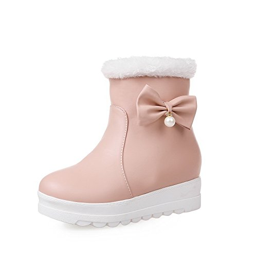 Women's Low Solid AgooLar Mid Boots On Top Jewels Pink Pu Heels Pull with RSqqxdta