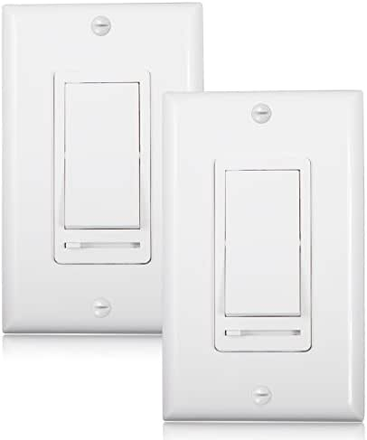 Maxxima 3-Way/Single Pole Decorative LED Slide Dimmer Rocker Switch Electrical light Switch 600 Watt max, LED Compatible, Wall Plate Included (2 Pack)