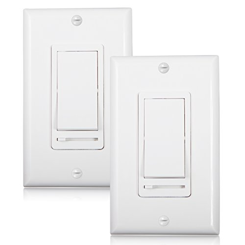 Slide Dimmer Switch 3 Way - Maxxima 3-Way/Single Pole Decorative LED Slide Dimmer Rocker Switch Electrical light Switch 600 Watt max, LED Compatible, Wall Plate Included (2 Pack)