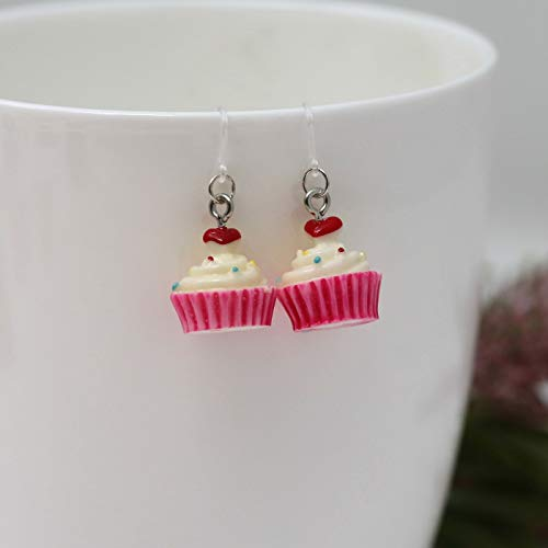 Pink Cupcake Dangle Earrings on Clear Plastic